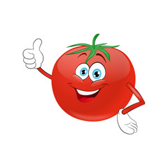 Cheerful cartoon tomato