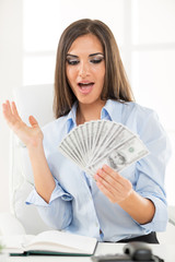 Businesswoman With Dollars
