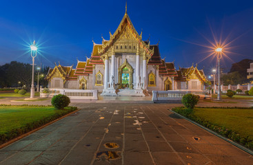 Wat Benjamaborphit or Marble Temple at twilight