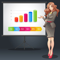 Business woman doing presentation vector illustration