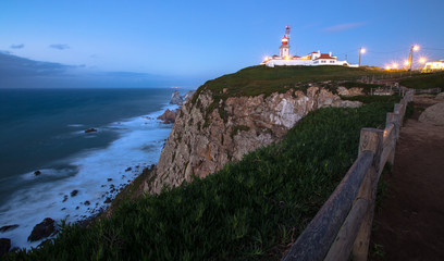 Cabo da Roca cape lighthouse in Portugal.Tinted