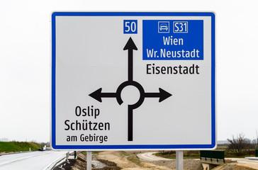 Neues Verkehrsschild Umfahrung Burgenland B50
