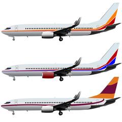 Jet planes. Vector illustration set