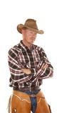 cowboy chaps hat cross arms close poster