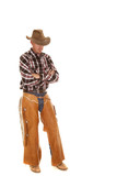 cowboy chaps hat cross arms poster