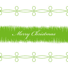 Illustration Happy Christmas, green branches on a white backgrou