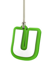 Green capital letter U hanging on rope with clipping path
