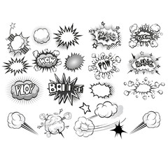 comic sound Effects black and grey collection