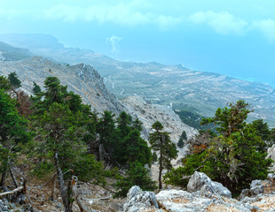 Summer morning cloudy top view of Mount Aenos (Kefalonia, Greece