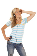 woman in blue shirt look up listen to music
