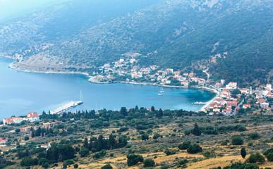 Morning misty summer coast landscape ( Kefalonia, Greece).