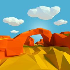 Kleine Landschaft mit Steinbrücke in der Wüste