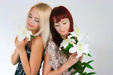 girls with lilies