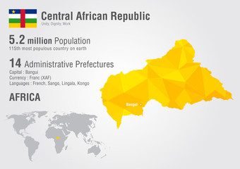 Central African Republic world map with a pixel diamond texture.