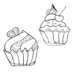 Line drawing cake black and white illustration