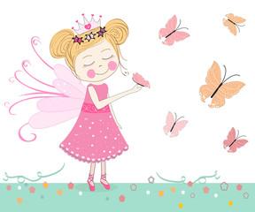 Cute fairytale with butterflies vector