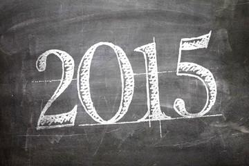 2015 written on blackboard