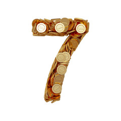 Alphabet number digit seven 7 with golden coins isolated on whit