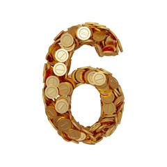Alphabet number digit six 6 with golden coins isolated on white