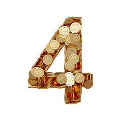 Alphabet number digit four 4 with golden coins isolated on white