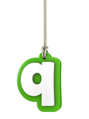 Green lowercase letter Q hanging on rope with clipping path