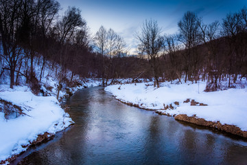 Stream during the winter in rural York County, Pennsylvania.