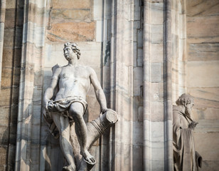 Statue on the milan cathedral
