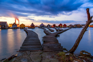 Sunset lake Bokod with pier