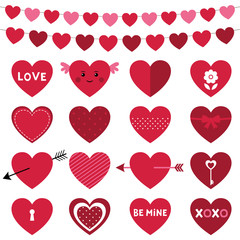 Valentines Day decoration and hearts set