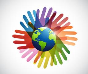diversity hands around the globe