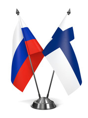 Russia and Finland  - Miniature Flags.