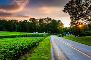 Sunset over a country road in Southern York County, Pennsylvania