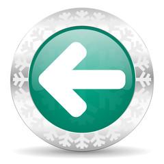 left arrow green icon, christmas button, arrow sign