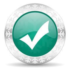 accept green icon, christmas button, check sign