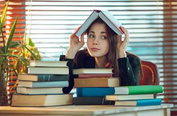 Girl among books