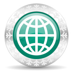 earth green icon, christmas button