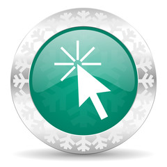 click here green icon, christmas button