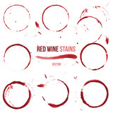 Red wine stains on white background