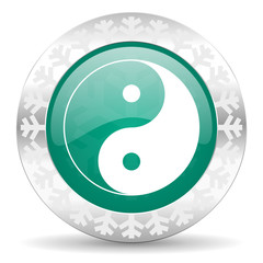 ying yang green icon, christmas button