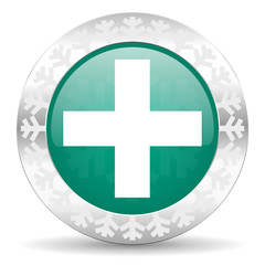 plus green icon, christmas button, cross sign