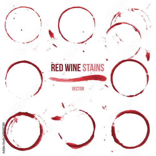 Red wine stains on white background - 75097381