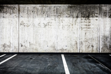 Concrete wall underground garage interior background texture
