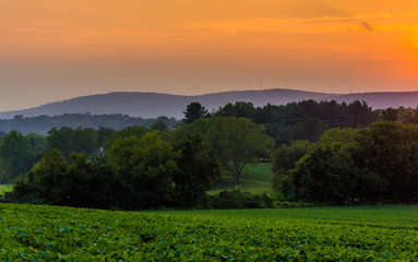 Sunset over farm fields and the Piegon Hills, near Spring Grove,