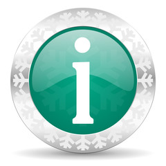 information green icon, christmas button