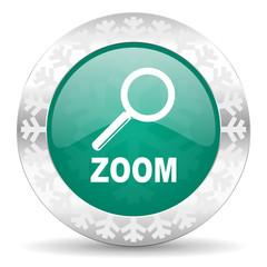 zoom green icon, christmas button