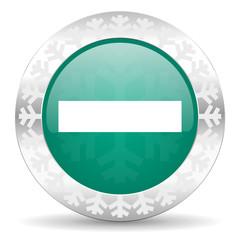 minus green icon, christmas button