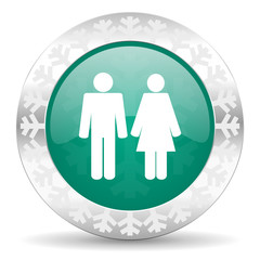 couple green icon, christmas button, people sign, team symbol