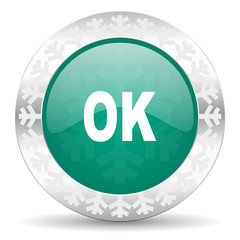 ok green icon, christmas button
