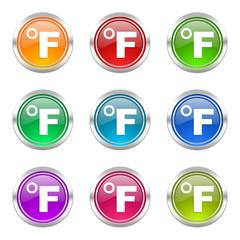 fahrenheit colorful web icons vector set