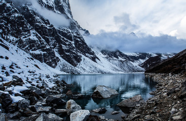 Lake in Himalaya mountains in Nepal